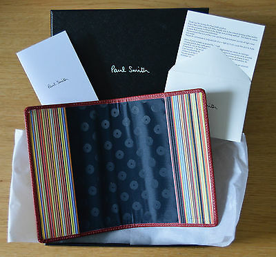 PAUL SMITH mens red Signature Stripe passport holder document cover ID case