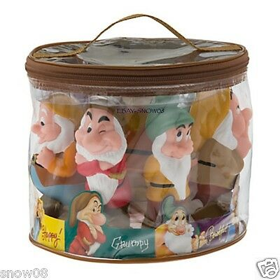 Seven Dwarfs Squeeze Bath Toy Play Set Pool W/carrying Case Disney Park New