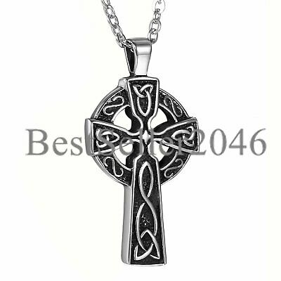 Men's Stainless Steel Large Celtic Cross Irish Knot Pendant Necklace w/Chain 22""