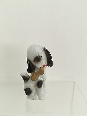 """Vintage Ceramic Dog With Gold Shoe Figurine 3 1/2"""" Tall"""