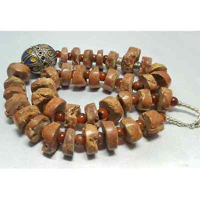 Rare ancient Wonderful Stone & silver beads Necklace # L