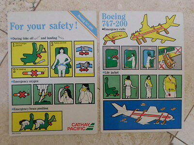 2X Cathay Pacific Boeing 747-200 Safety Cards