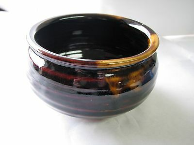 Japanese Tea Ceremony, Vintage Kensui (Slop Basin) Iron Glaze / Artist Signed