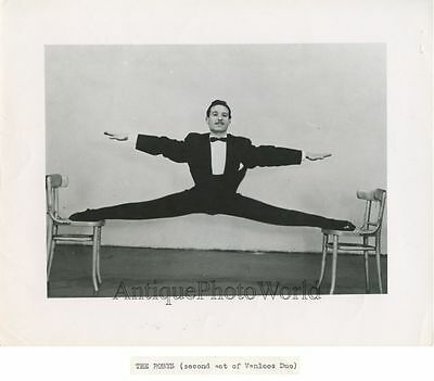 The Robys circus performer acrobat doing a split on chairs vintage photo
