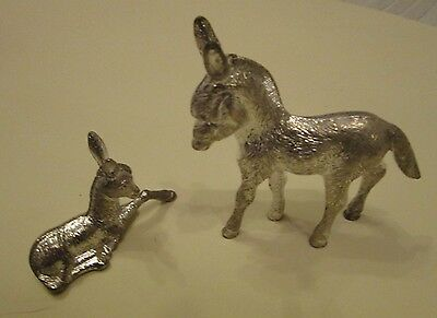 Pair of silver plate animals: donkey and a deer