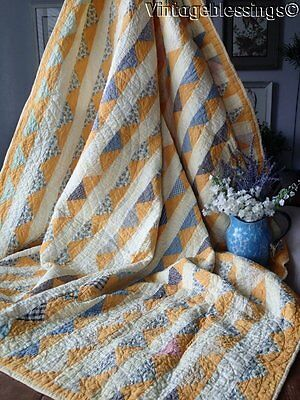 "ANTIQUE c1880 Cheddar Yellow FLYING GEESE QUILT 81"" x 64"""