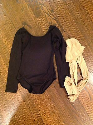 Girl's Ballet Black Leotard And Tights Size 6x