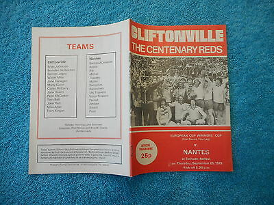 Football Programme Cliftonville V Nantes   European Cup Winners  Cup 1979
