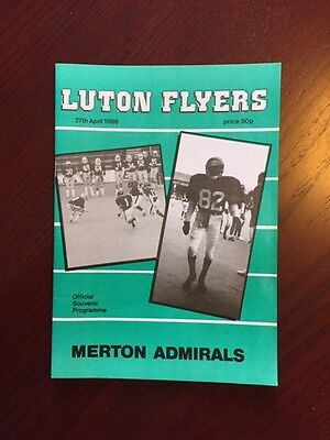 Luton Flyers v Merton Admirals 1986 American Football Programmes 20 pages