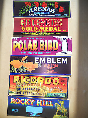 Six Vintage Californian Grape Crate Labels - great for interior decor