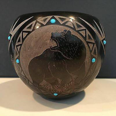 (Elmer) Red Starr - Santa Clara/Sioux- Hand-Etched Seed Pot W/ Turquoise