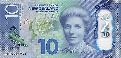 New Zealand  $10  2015  P 192 Series AC  Uncirculated  Banknote , SP 7