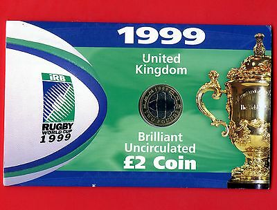 1999 2 Pound (Rugby World Cup) Coin in Sleeve