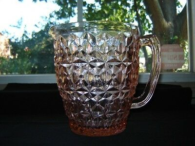 Awesome Jeannette Pink Depression Glass Holiday aka Buttons & Bows Pitcher