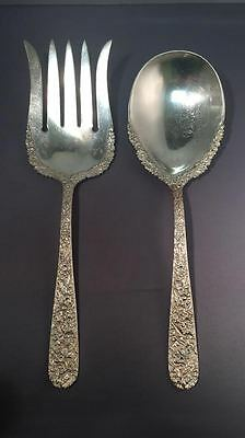 Monogrammed Oversized Salad Serving Set in Repousse by S. Kirk & Son, Sterling