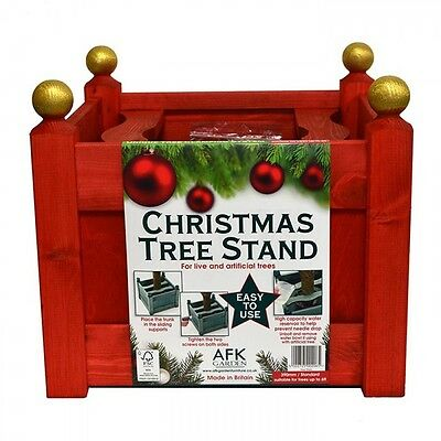 AFK 15inch Classic Wooden Christmas Xmas Tree Stand with Water Resevoir - Red