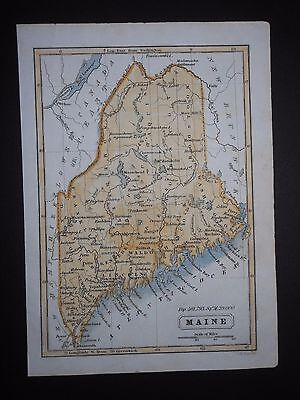 Maine 1850 Antique Map Hand Colored Population 501,793