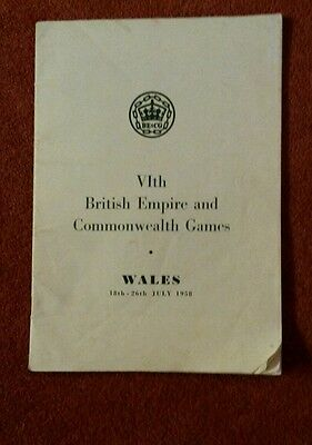 Sixth British Empire And Commonwealth Games Wales 18Th-26Th July 1958