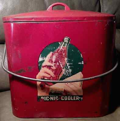 Vintage Coca-Cola PIC-NIC COOLER Circa 1940-early '50s  w/Collectible Bottles