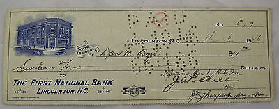 Lincolnton First National Bank Cancelled Check 1946 Lincolnton Country Club