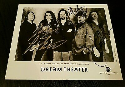 Dream Theater signed glossy photograph Mike Portnoy James LaBrie Jordan Rudess