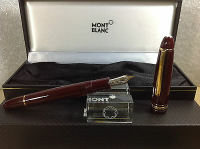MONTBLANC Meisterstuck 146R FOUNTAIN Pen With Nib M BORDEAUX Gold RED MINT