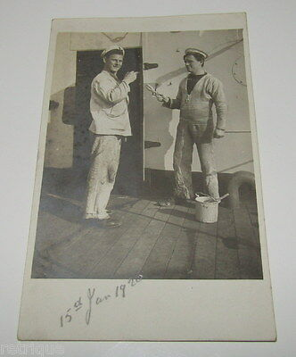 Vintage Postcard, Painters, Possibly From HMS Ramillies Ship JAN 1920, (SEE HAT)