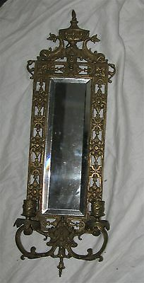 """Vintage Ornate Metal Beveled Mirror w/ Candle Sconces, Dolphins or Fish, 23"""""""