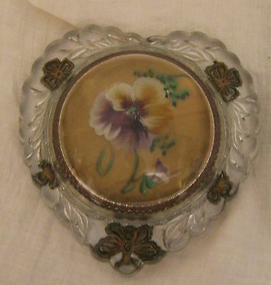 Victorian Heart-Shaped Domed Magnifying Glass Paperweight w/ Pansy, Gold Details