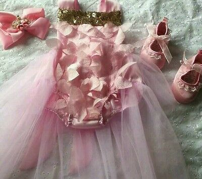 Reborn baby girl outfit  0 / 3 months pink tutu romper  & shoes princess style