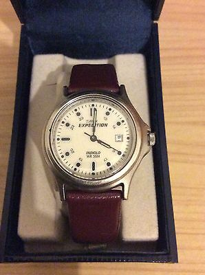 Men's Ladies Timex Expedition Indiglo Watch with Brown Leather Strap.