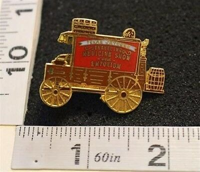 Traveling Medicine Show Stagecoach Texas Jaycees Hat Lapel Pin INV#1641