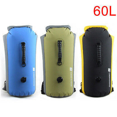 60L Waterproof Dry Bag Backpack Pouch Sport Floating Boating Kayaking Camping