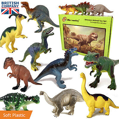 Dinosaur Playset Toys Large Plastic Jurassic Era Action Figures Set of 12 Named