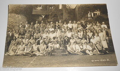 OLD RP Postcard, LARGE GROUP OF PEOPLE, HOLIDAY FELLOWSHIP CONWAY 1933