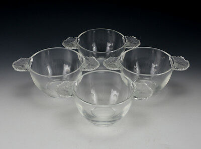 Group of 4 Lalique France Crystal Glass Double Handled Cups in Honfleur
