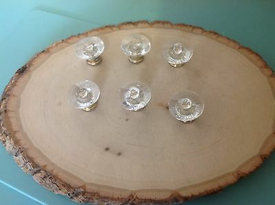 397 VTG Clear Acrylic Knobs Wt Metal Bottoms Set Of 6 . Different!