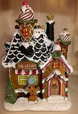 Lighted Gingerbread House Village Peppermint Candy Ornament Ice Cream Shop Decor