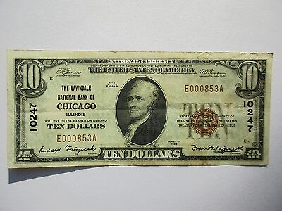 National Currency 1929 $10 Chicago/Lawndale IL Fine/Very Fine