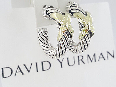 David Yurman 14K Yellow Gold & Sterling Silver Cable X Hoop Earrings