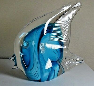 """Mdina Cased Art Glass Fish Signed 06  12-031 And Has Label 6 3/8"""" T Exc Cond"""