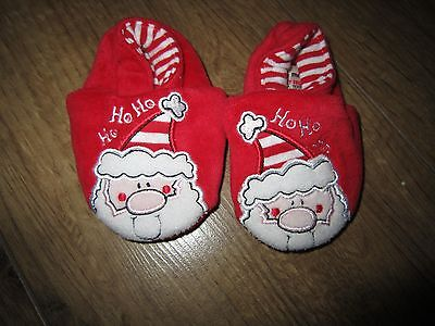Baby Boy Girl Christmas Red Ho Ho Ho Santa Soft Slippers Pram Shoes 0 - 6 months