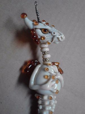 GLASS LAMPWORK DRAGON 11 inches long / With wire hanger / used in great shape