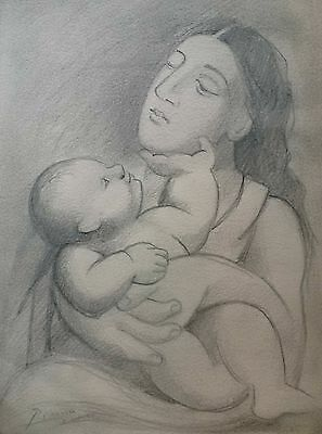 PABLO PICASSO Mother and Child ORIGINAL HANDMADE Drawing Signed