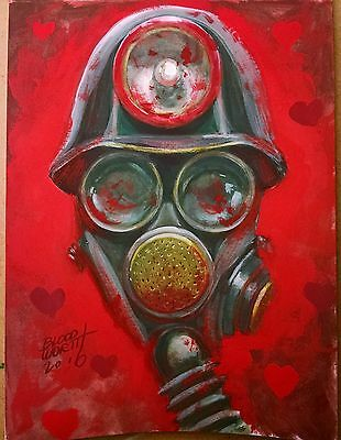 """Mask from MY BLOODY VALENTINE painting 6""""x8"""" by Mark Bloodworth"""