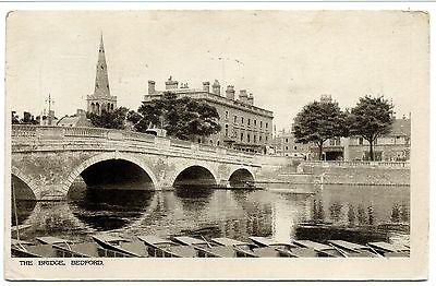 The Bridge, Bedford. Boats In Forground Some Animation In Background. Pu 1916.