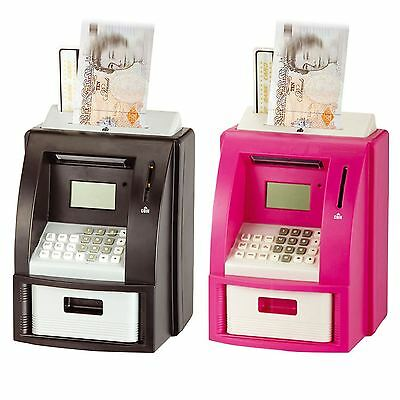 New Digital Coin Atm Money Counting Savings Electronic Piggy Bank Pink / Black