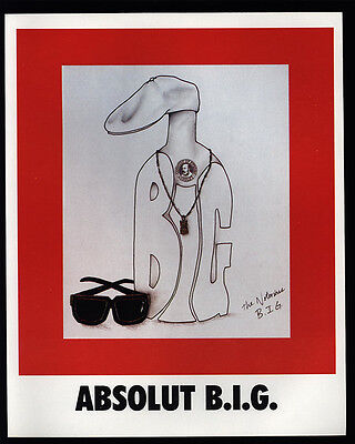 1995 ABSOLUT B.I.G. - COOL ART by THE NOTORIOUS B.I.G. BIGGIE SMALLS VINTAGE AD