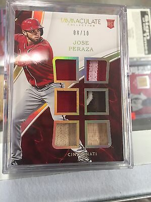 Jose Peraza Reds 2016 Immaculate Collection 6pc Patch Bat Jersey Card #8/10 Sick