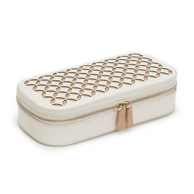 Wolf Chloe Perforated Leather Zip Travel Jewellery case in Cream
